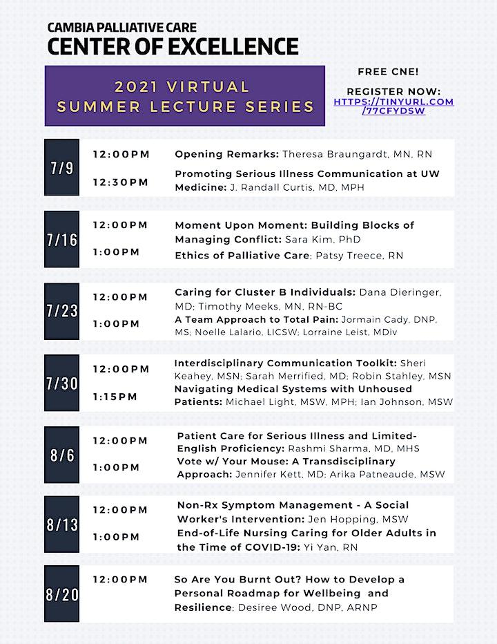 2021 Virtual  Palliative Care Summer Lecture Series image