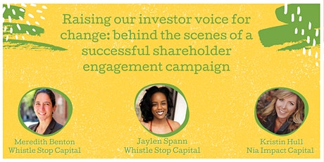 Raising our investor voice for change tickets