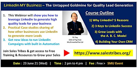 Use LinkedIn to Generate Leads, Grow your Sales and Expand Your Connections tickets