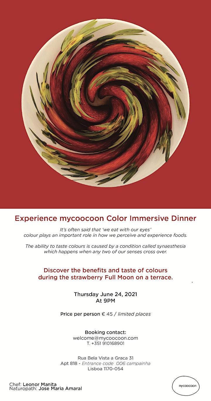 """imagem Immersive  Color Dinner  for the """"Strawberry Full Moon"""""""