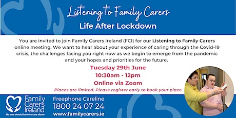 Listening to Family Carers: Life After Lockdown tickets