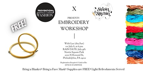 Prevention Meets Fashion X Sippin  and Stitchin Embroidery Workshop tickets