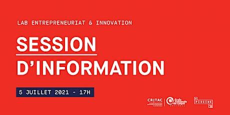 Lab en entrepreneuriat et innovation : session d'information billets