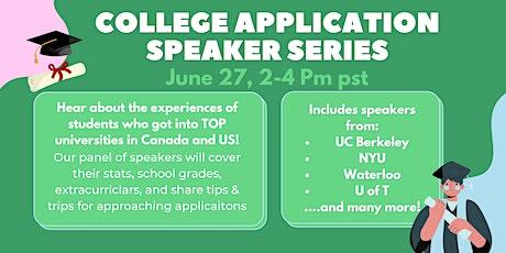 University application speaker series tickets