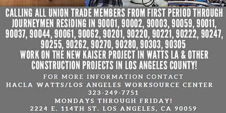 Work in Construction at the new Kaiser project in Watts! tickets