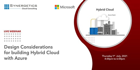 """Webinar On  """"Design Considerations for building Hybrid Cloud with Azure"""" tickets"""
