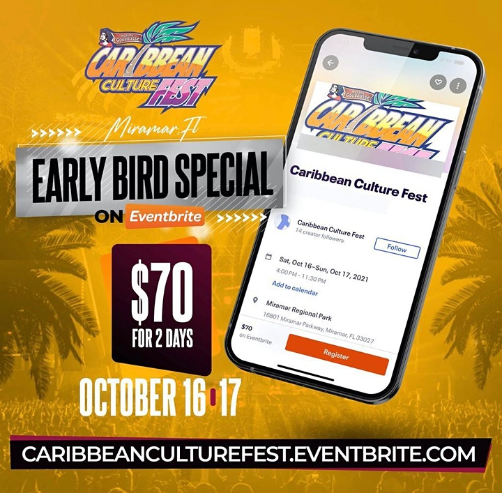 CARIBBEAN CULTURE FEST BOTH DAYS- SAT & SUN EARLY BIRD SPECIAL image