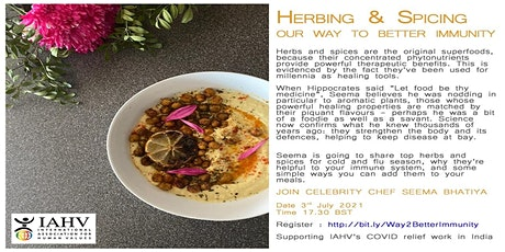 Cooking with Seema - Learn holistic vegetarian cooking -Supporting IAHV tickets