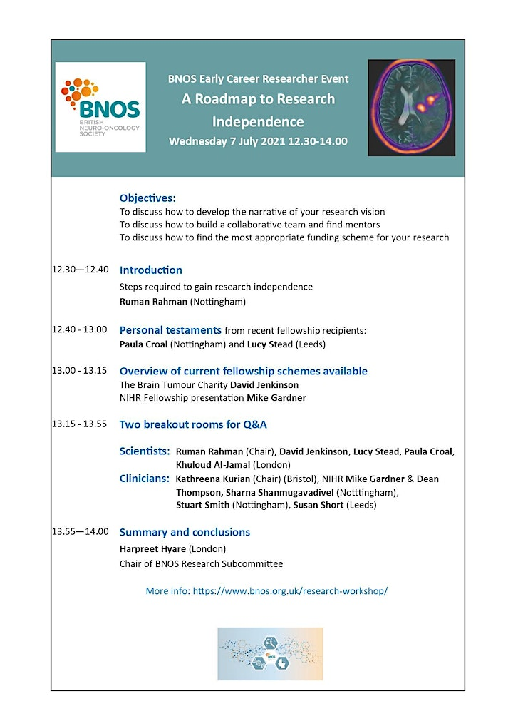 British Neuro-Oncology Society BNOS  Early Career Researcher - Online Event image