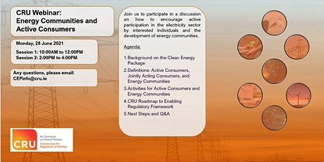 CRU Webinar: Energy Communities and Active Consumers - Session 1 tickets