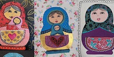 Art Journaling for wellbeing - Matryoshka mixed media workshop  acrylics tickets