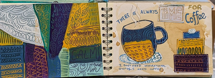 Art Journaling for wellbeing - Sgraffito mixed media workshop  acrylics image