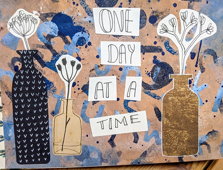 Art Journaling for wellbeing - Seed heads mixed media workshop  acrylics image