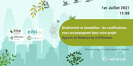 Biodiversité et immobilier :  les apports de Biodivercity et Effinature billets