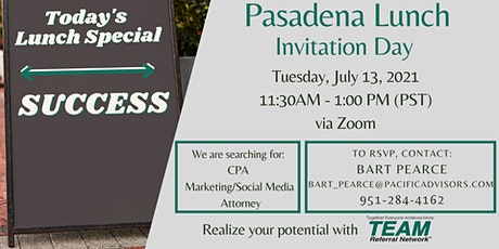 Let's do Lunch! Virtual Invitation Day with Pasadena Lunch tickets