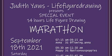 14 HOUR MARATHON Life drawing Session  / 7 Models - one Donation tickets