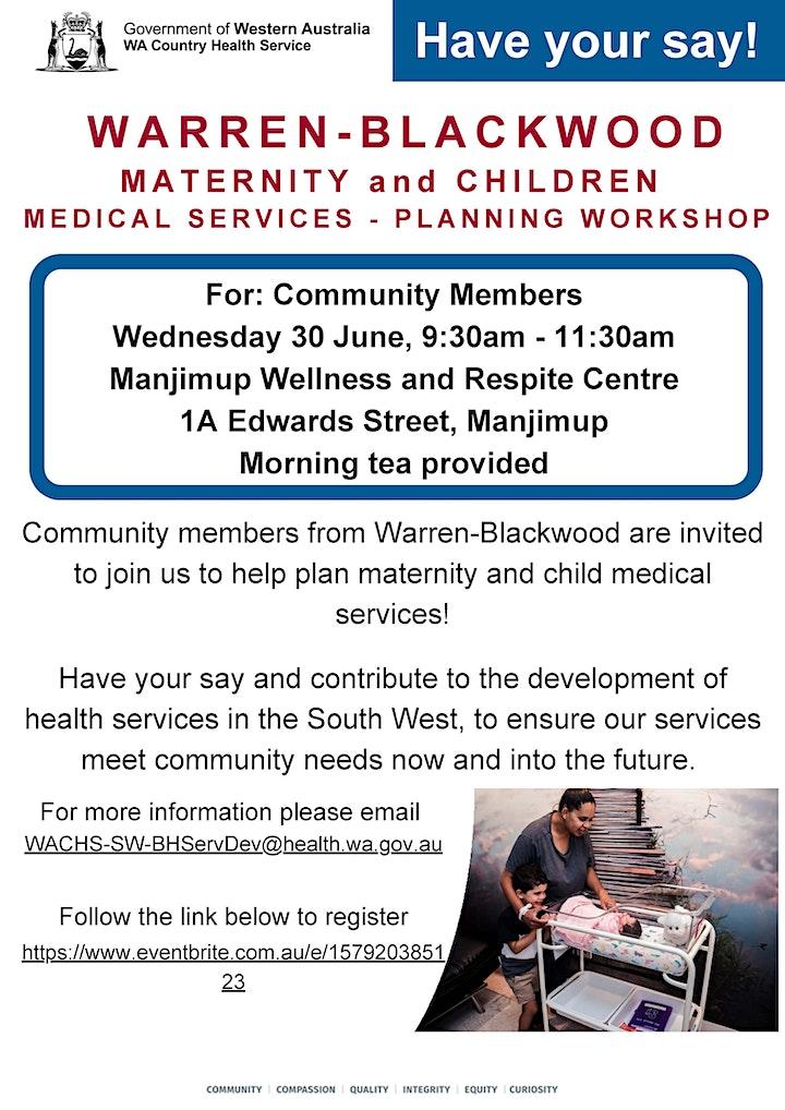 Warren Blackwood Maternity & Paediatrics Service Planning Workshop image