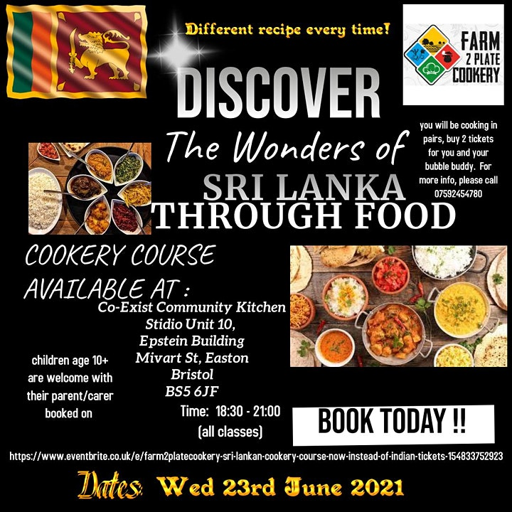 Farm2platecookery - Sri Lankan Cookery Course  now instead of Indian image