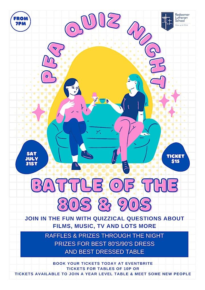PFA Quiz Night - Battle of the 80s & 90s image
