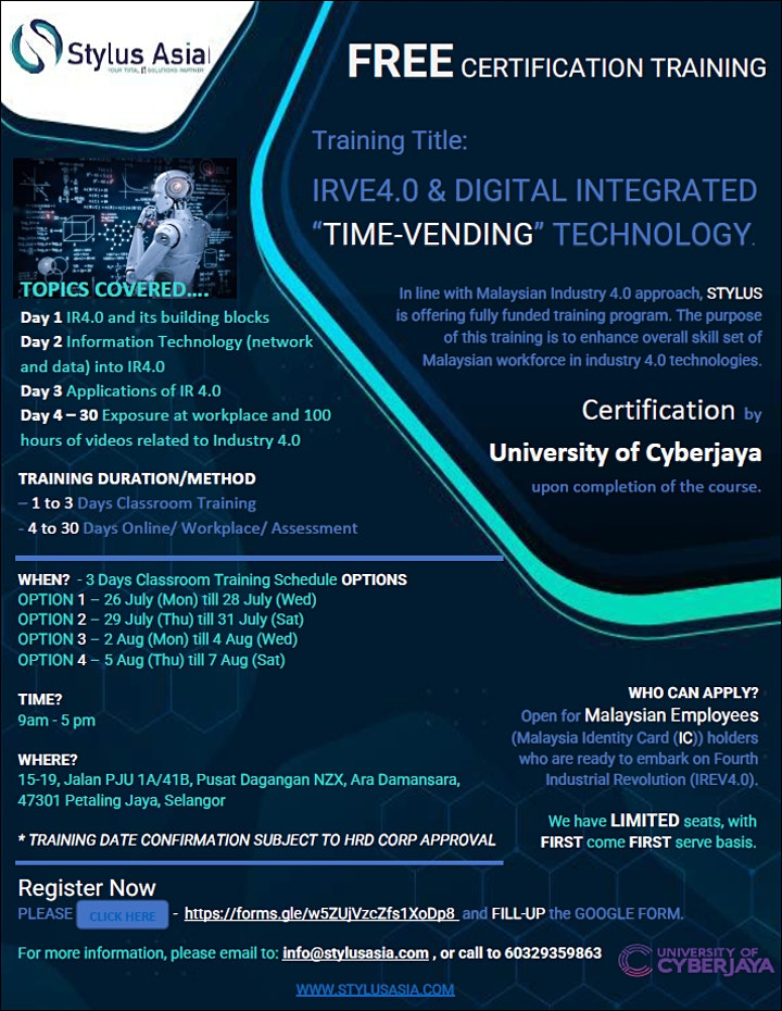 """FREE  CERTIFICATION  """"IR4.0 & DIGITAL INTEGRATED """"TIME-VENDING"""" TECHNOLOGY"""" image"""