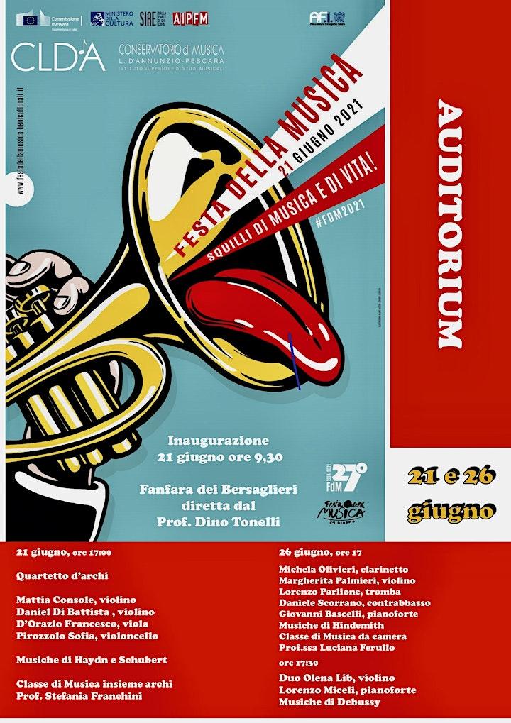 Immagine Festa della musica 2021 - concerto del 26 giugno in AUDITORIUM