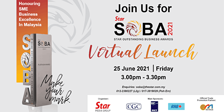 The Star Outstanding Business Awards (SOBA) 2021 Official  Virtual Launch tickets