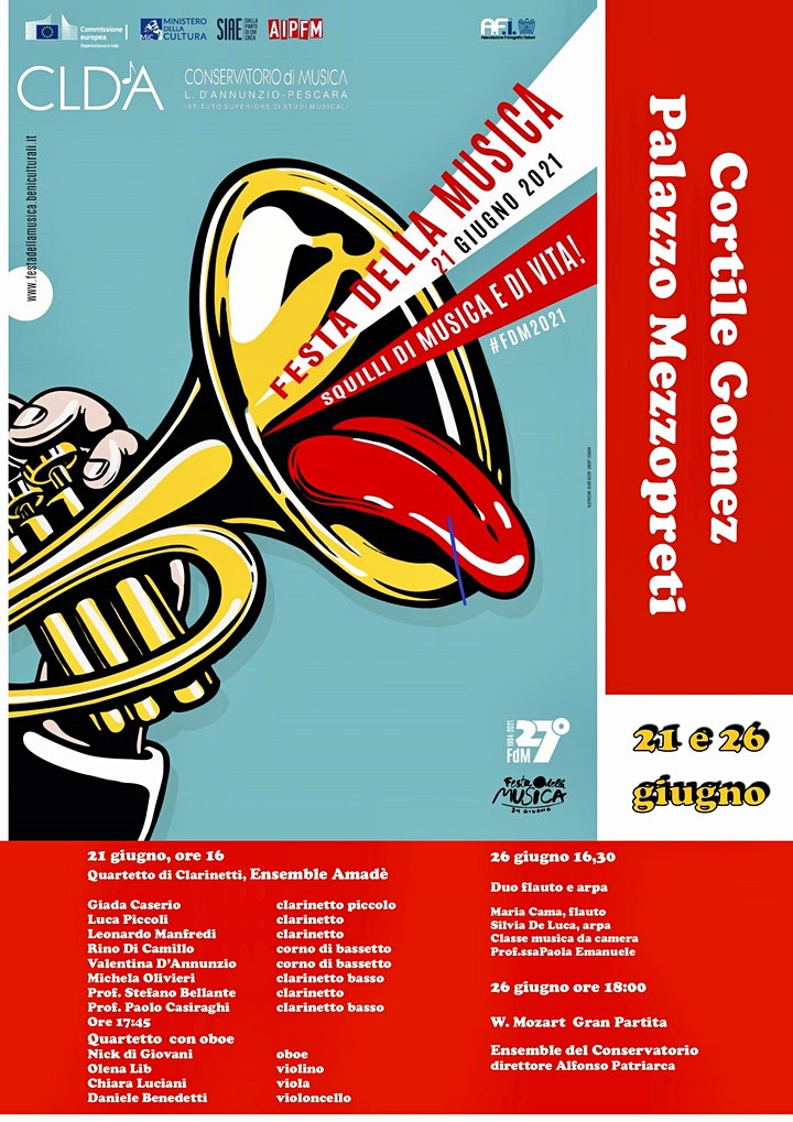 Immagine Festa della musica - edizione 2021, concerto del 26 giugno in CORTILE GOMEZ
