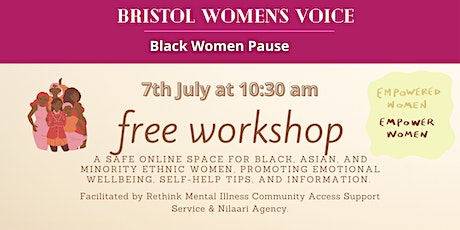 Black Women Pause - a safe online space to support BAME women in Bristol tickets