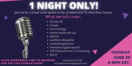 CRASH COURSE! INTRO TO VOICE OVER tickets