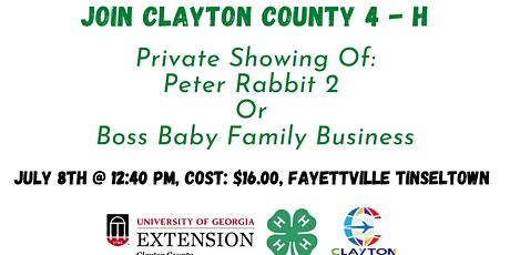 4-H Movie Day: Peter Rabbit 2 Or Boss Baby Family Business tickets