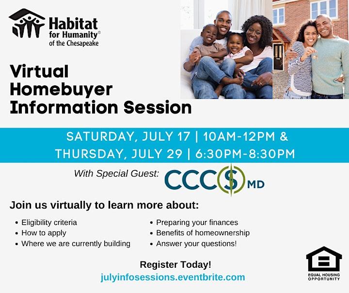 Habitat Chesapeake's Homebuyer Information Session   JULY 2021 image
