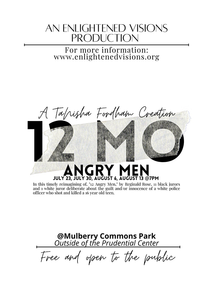"""Theater in the Park """"12 MO' Angry Men"""" a TaNisha Fordham Production image"""