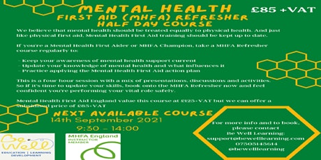 Mental Health First Aid (MHFA) Refresher Course tickets