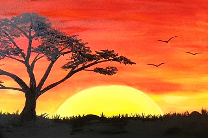 Sunset Landscape with Acrylics, Virtual Painting Class image