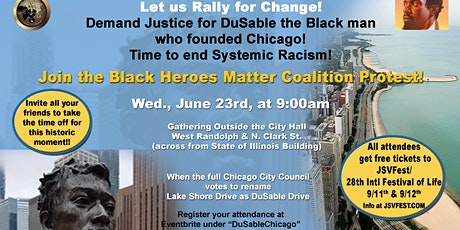 DuSableChicago- LSD  to DuSable Drive,  Rally, June 23-Chgo City Hall. Free tickets