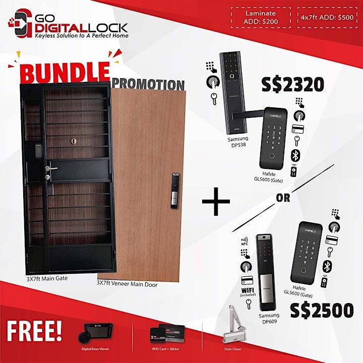 Veneer Main Door, Main Gate, and Digital Locks Bundle Promotion 2021 image
