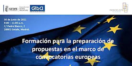 Formación para la preparación de propuestas para convocatorias europeas tickets