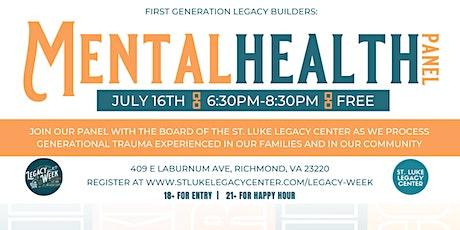 Legacy Week 2021: Mental Health Panel & Happy Hour tickets