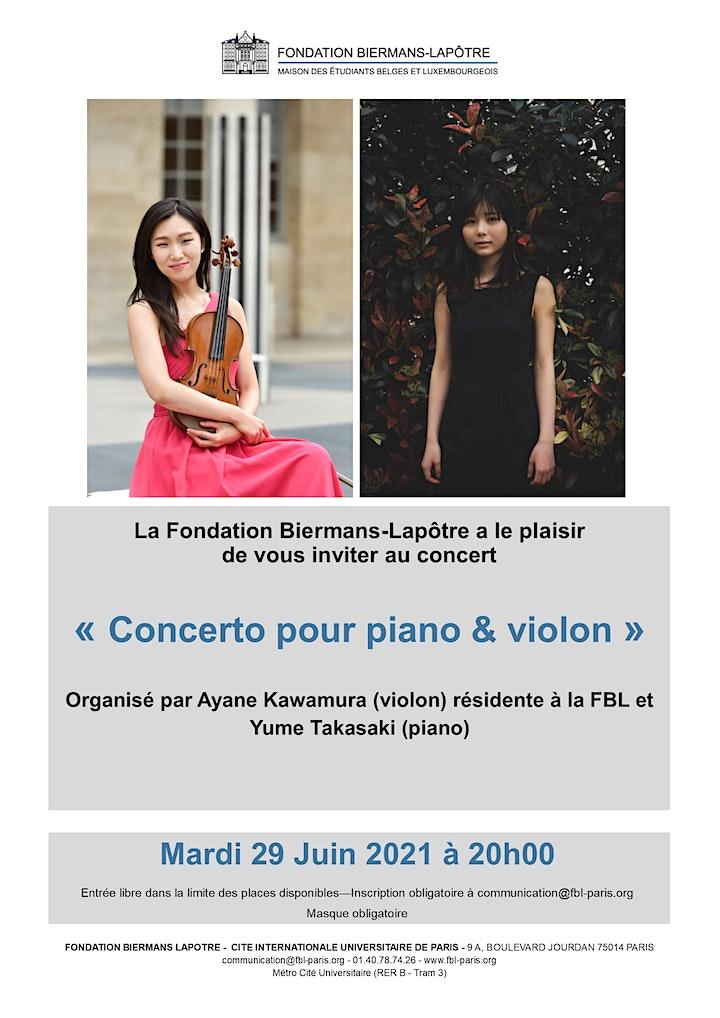 Image pour Concerto pour piano & violon - Ayane Kawamura & Yumi Takasaki