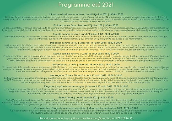 Image pour Danse Orientale - Stages d'été 2021