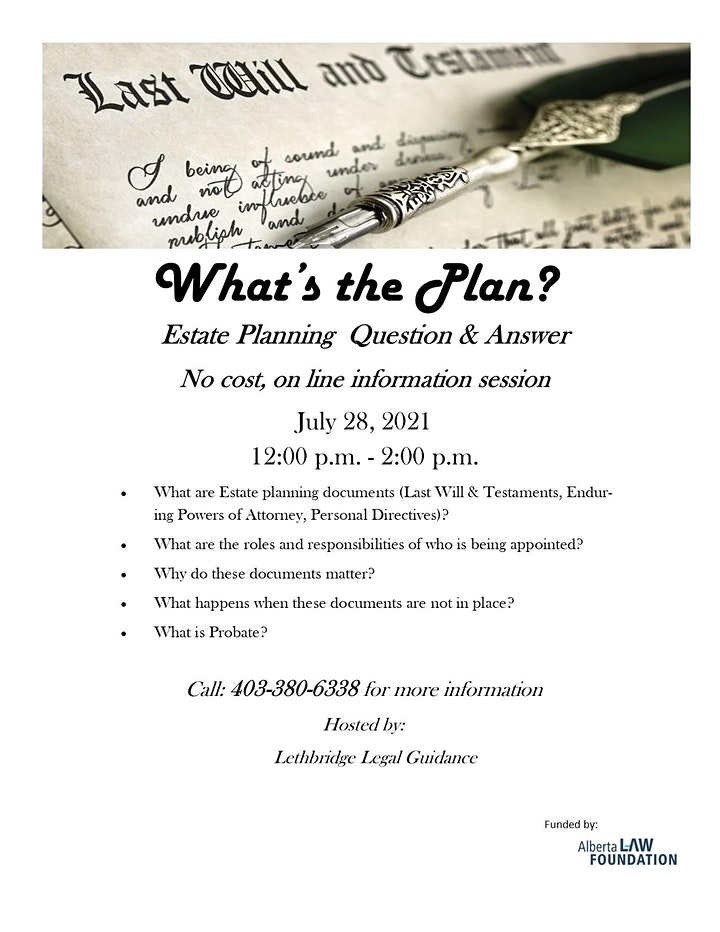 Copy of What's the Plan - Wills & Estates Information session image