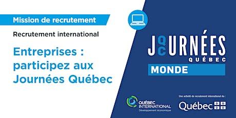 Entreprises : Participez aux Journées Québec Monde billets