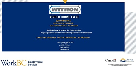 Guildford WorkBC Online Hiring Event with Witron tickets