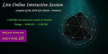 1 Day GCSE and KS3 Number Master Class (5 hours of Live teaching) tickets