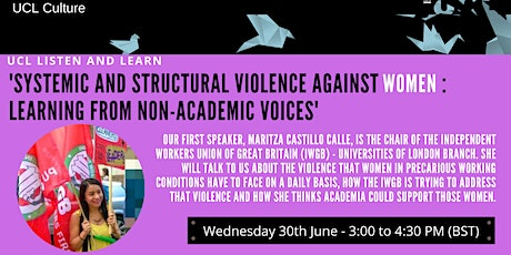 UCL Listen & Learn - Systemic and structural violence against women billets