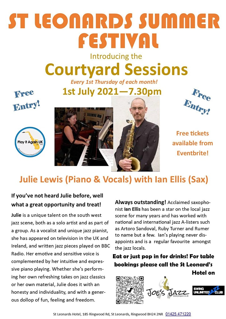 The Courtyard Sessions - St Leonards Summer Music Festival THURDAY 1st july image