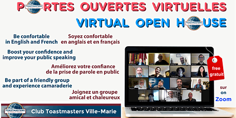 Club Toastmasters Ville-Marie: Portes ouvertes virtuelles / Open house tickets