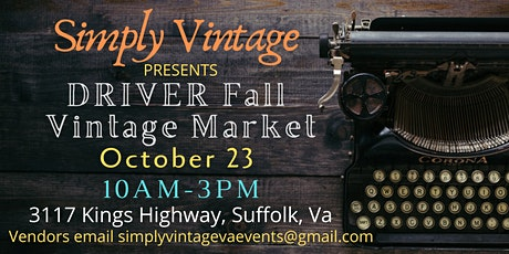 Driver Fall Vintage Market tickets