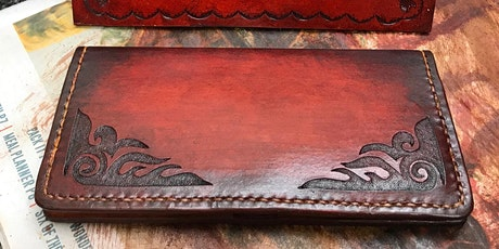 Leather Clutch Purse - Inverted Carving / Stamping tickets