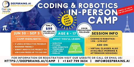 In-person Summer Coding & Robotics Camp | Jun 30-Sep 3 | $99/week tickets